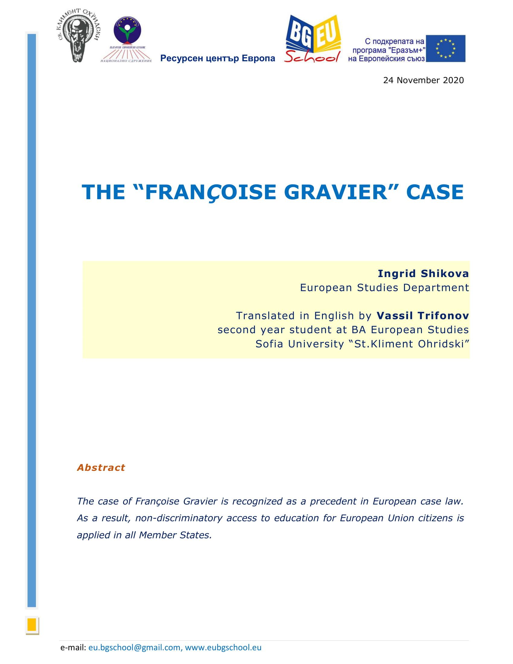"THE CASE ""FRANÇOISE GRAVIER"""
