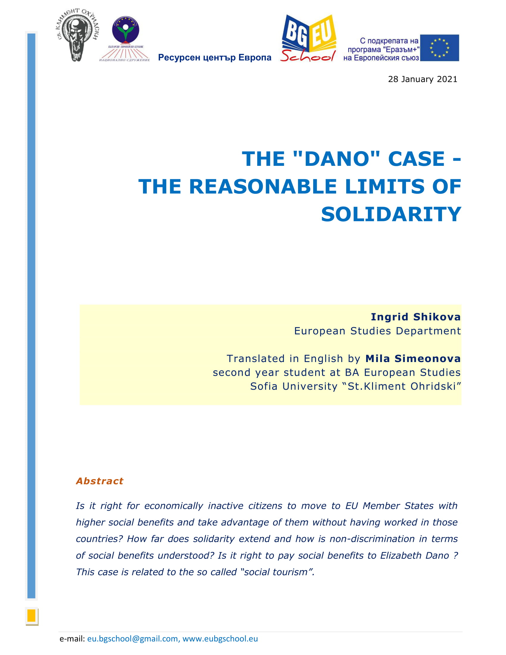 """THE """"DANO"""" CASE – THE REASONABLE LIMITS OF SOLIDARITY"""