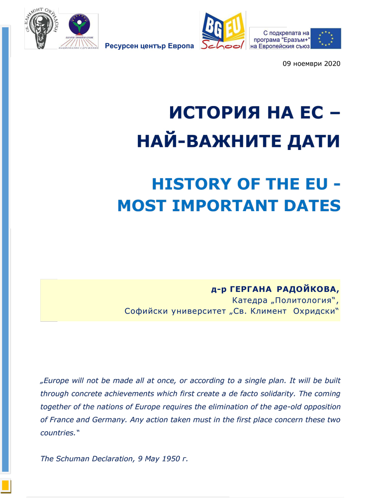 HISTORY OF THE EU - МОSТ IMPORTANT DATES